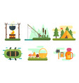tourist equipment set camping and fishing vector image vector image