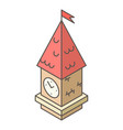 tower clock icon isometric style vector image vector image