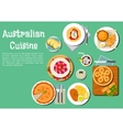 Traditional australian cuisine dishes flat icon vector image vector image