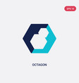 two color octagon icon from geometry concept vector image