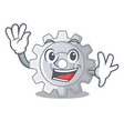 waving gear on style character shape funny vector image vector image