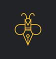 writer bee logo design bee with pen concept vector image