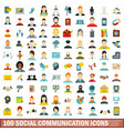 100 social communication icons set flat style vector image vector image