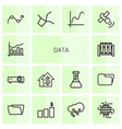 14 data icons vector image vector image