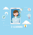 avatar woman and learning online concept vector image