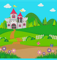 background scene with castle towers in the field vector image vector image