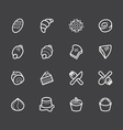 bakery popular white icon set on black background vector image