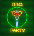 barbecue party neon icon vector image vector image