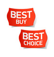 best buy and best choice labels vector image vector image
