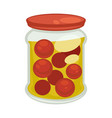 canned cherry tomatoes in big jar isolated vector image vector image