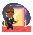 cartoon bouncer at entrance to a nightclub vector image