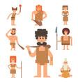 caveman primitive stone age cartoon neanderthal vector image