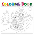 children on the sled coloring book vector image vector image
