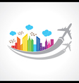 Colorful background with city and airplanes vector image