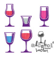 Colorful cartoon glass collection vector image vector image