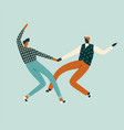 dancing characters couple card in retro 50s style vector image