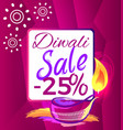 diwali sale -25 off sign vector image vector image
