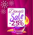 diwali sale -25 off sign vector image vector image
