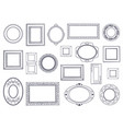 doodle frames square hand draw borders pencil vector image vector image