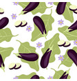 eggplant seamless pattern with white background vector image
