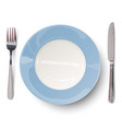 empty blue plate with knife and fork vector image
