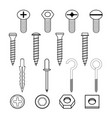 fastener wall hooks bolts and wall plugs vector image vector image