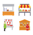 food stalls flat icons vector image