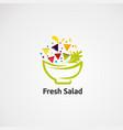 fresh salad logo on abstract green bowl element vector image vector image