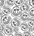 Funny faces seamless background black and white vector image
