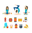 girl involved in sport yoga different positions vector image vector image