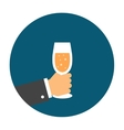 hand holding a glass champagne vector image vector image