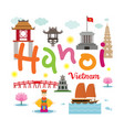 hanoi vietnam travel and attraction vector image vector image