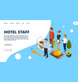 hotel staff landing page isometric vector image vector image