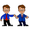 intelligent man with glasses and a suit smiling vector image vector image