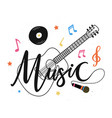 isolated on white with acoustic guitar microphone vector image