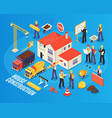 isometric house building composition vector image vector image
