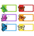 Lable design with colorful butterflies vector image