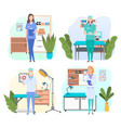 man and woman doctors in their workplaces vector image