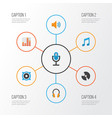 music flat icons set collection of karaoke tone vector image vector image