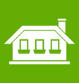 one-storey house with three windows icon green vector image vector image