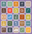 party line flat icons on violet background vector image vector image