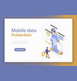 personal mobile data protection isometric flat vector image vector image