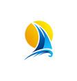 sailing boat logo yacht sailboat sunset logo icon vector image