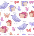 seamless pattern of birthday gifts butterfly and vector image