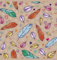 seamless pattern with feathers hand drawn vector image