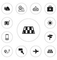 set of 12 editable journey icons includes symbols vector image vector image