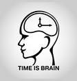 stroke brain logo icon design time is brain vector image