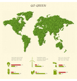 Stylized world map with eco infographic elements vector image