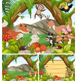 three forest scenes with animals and plants vector image vector image