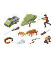 touristic safari african wild hunting for animals vector image vector image